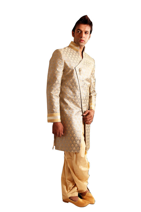 Saris and Things Gold With Silver Indo-Western Sherwani for Men BL1015SNT
