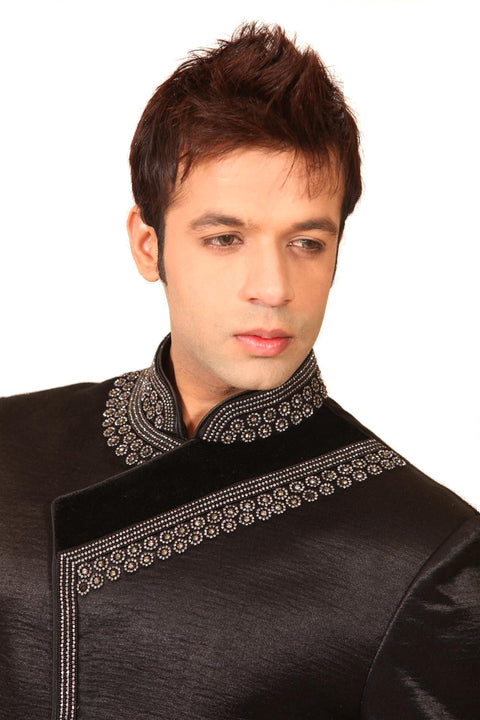 Saris and Things Jarkan Diamond Indo-Western Sherwani for Men BL1019SNT
