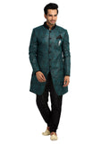 Saris and Things Cerulean Blue Indo-Western Sherwani for Men BL1021SNT