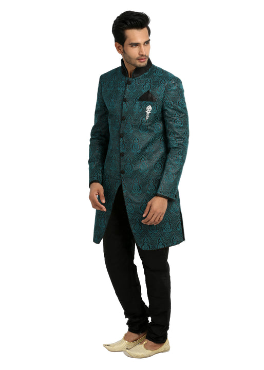 Cerulean Blue Indowestern Sherwani for Men