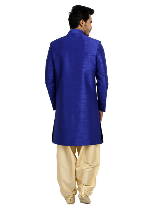 Saris and Things Blue Classy Indo-Western Sherwani for Men BL1041SNT