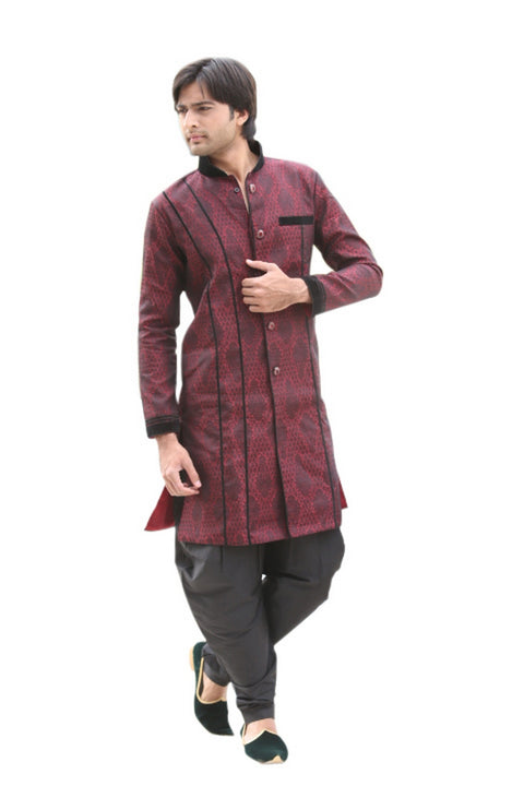 Maroon Indian Wedding Indo-Western Sherwani for Men BL1046SNT