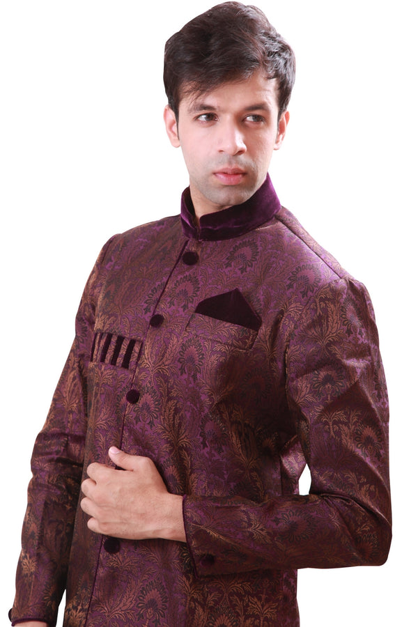 Velvet Work Indian Wedding Indo-Western Sherwani for Men