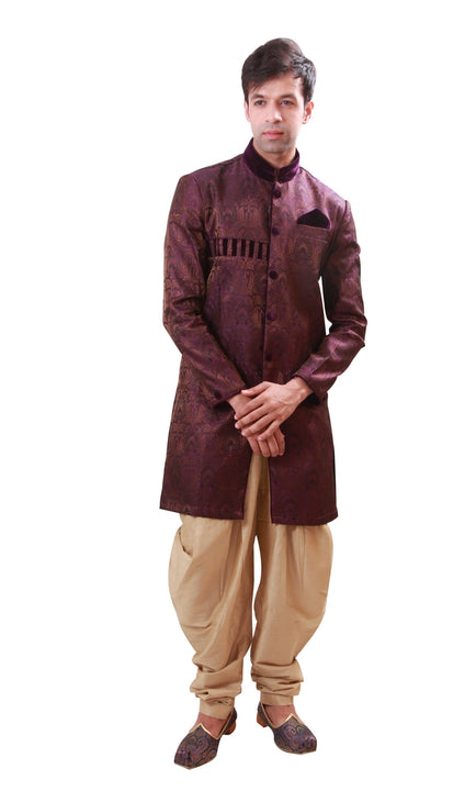 Velvet Work Indian Wedding Indo-Western Sherwani for Men BL1047SNT