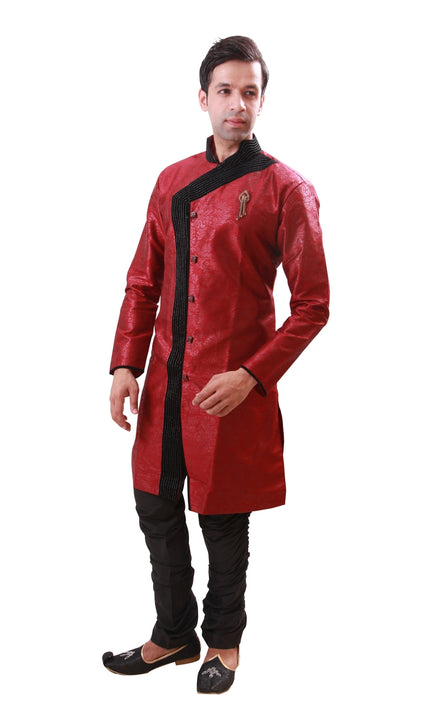 Maroon Indian Wedding Indo-Western Sherwani for Men BL1054SNT