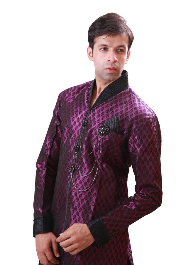 Lavender Indian Wedding Indo-Western Sherwani for Men