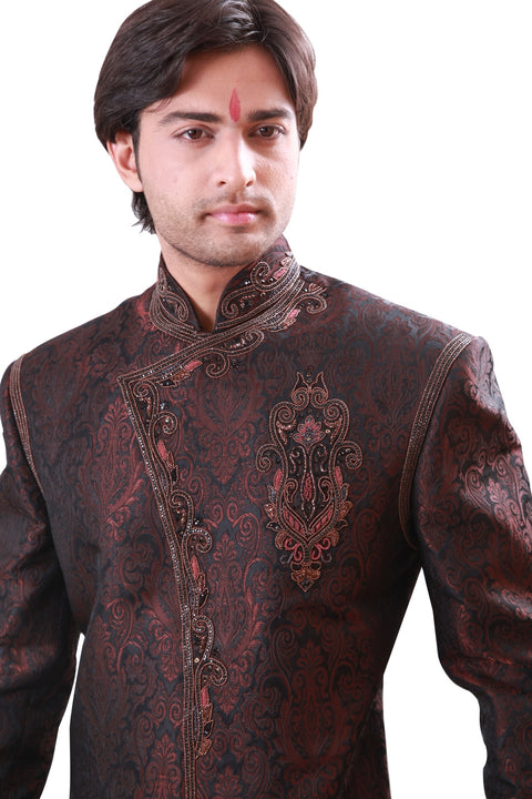 Dark Brown Indian Wedding Indo-Western Sherwani for Men