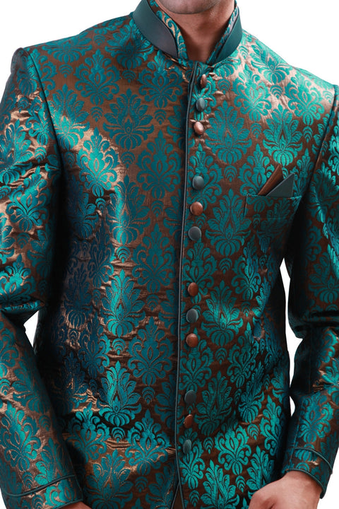 Green with Gold Indian Wedding Indo-Western Sherwani for Men BL1074SNT