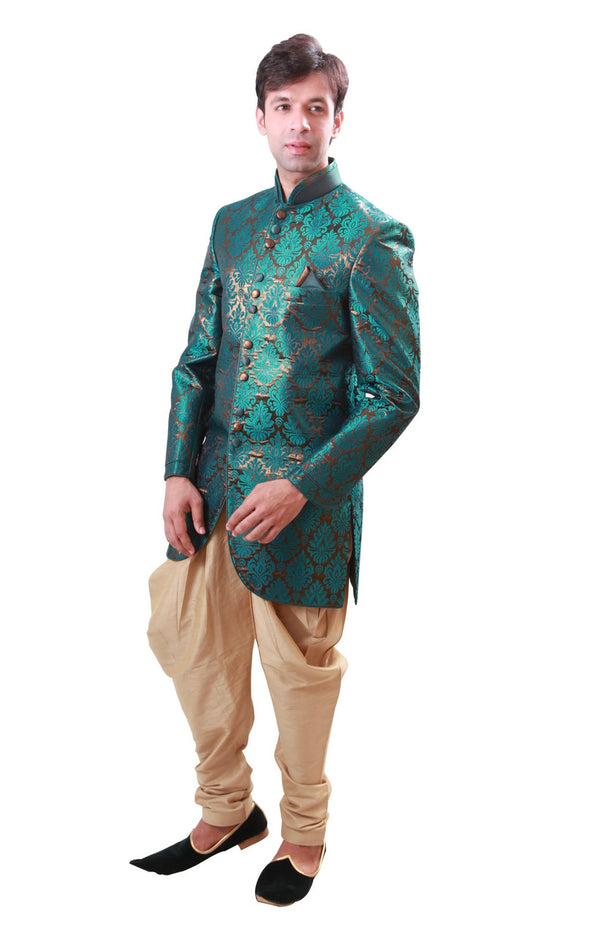 Green with Gold Indian Wedding Indo-Western Sherwani for Men