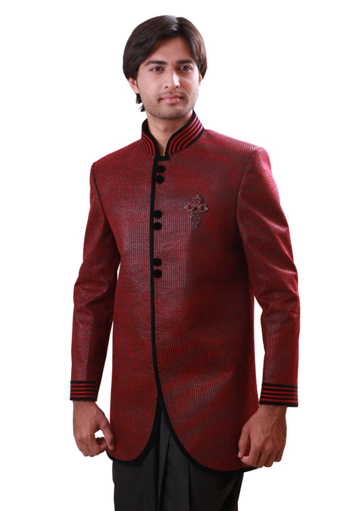 Burgundy Indian Wedding Indo-Western Sherwani for Men