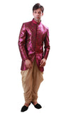 Fuschia with Gold Indian Wedding Indo-Western Sherwani for Men