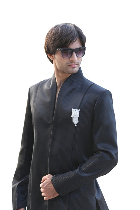 Black Indian Wedding Indo-Western Sherwani with High Neck Collar for Men