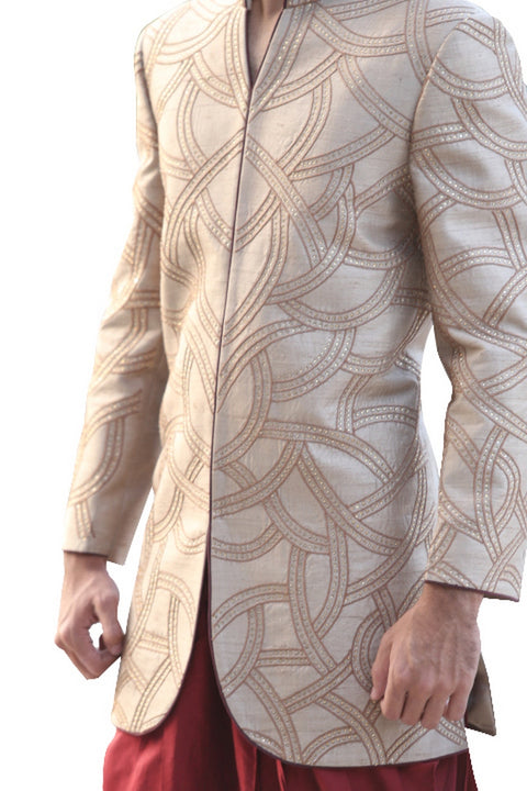 Solar Bronze Indian Wedding Indo-Western Sherwani for Men