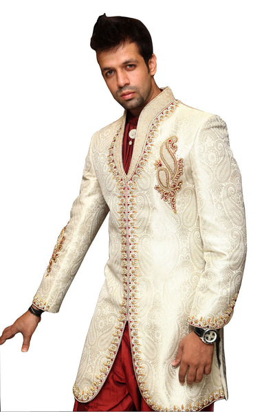 Off White Trendy Indian Wedding Sherwani for Men