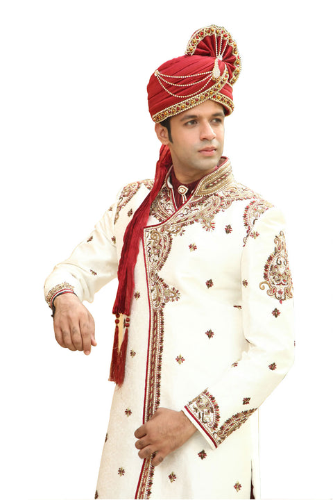 Classic Kedia Style White Indian Wedding Sherwani Kurta Pajama for Men