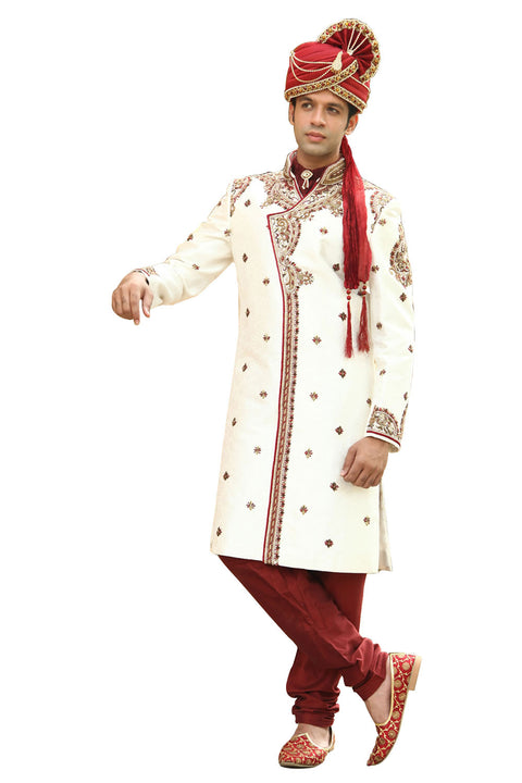 Classic Kedia Style White Indian Wedding Sherwani for Men BL2002SNT