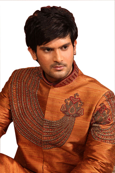 Raw Silk Mustard Indian Wedding Sherwani For Men