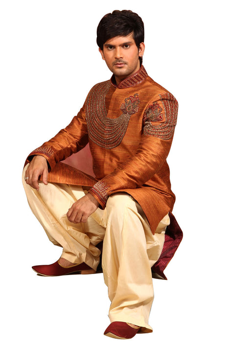 Raw Silk Mustard Indian Wedding Sherwani For Men BL2003SNT