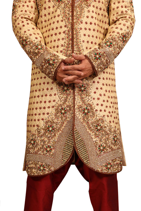 Zari Brocade V Neck Indian Wedding Gold Sherwani Kurta Pajama For Men