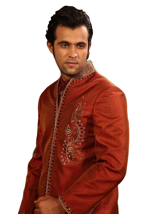 Stylish Highneck Indian Wedding Rust Sherwani Kurta Pajama For Men