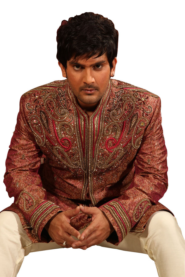 Rich Embroidery Work Indian Wedding Maroon Sherwani For Men