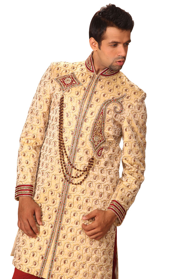 Royal Indian Wedding Golden Sherwani For Men