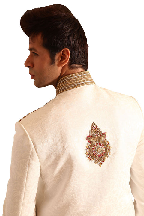 Elegant Indian Wedding White Sherwani For Men