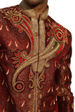 Royal Embroidery Indian Wedding Maroon Sherwani For Men