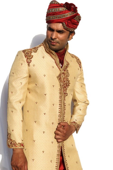 Kedia And Highneck Style Indian Wedding Gold Sherwani For Men