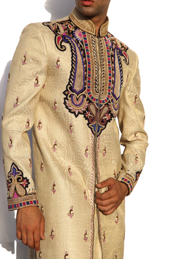 Maharaja Design Indian Wedding Gold Cream Sherwani For Men