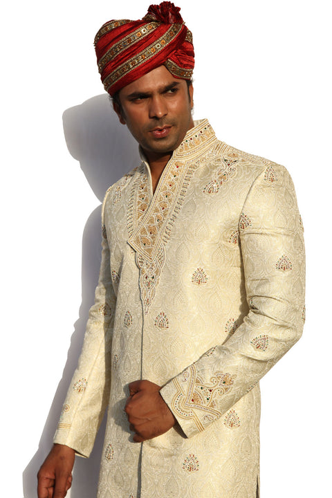 Stand Collar V Neck Style Indian Wedding Cream Sherwani For Men