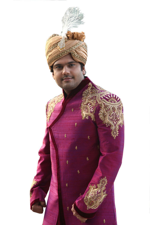 Beautiful Designer Indian Wedding Purple Sherwani For Men