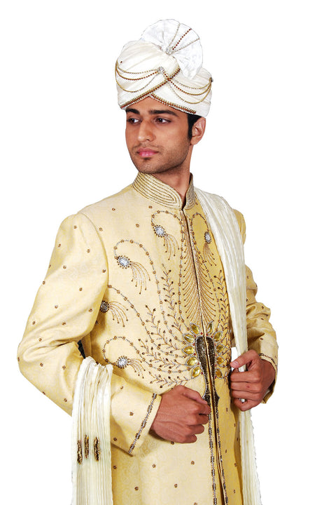 Traditional Indian Wedding Modern Cream Sherwani For Men
