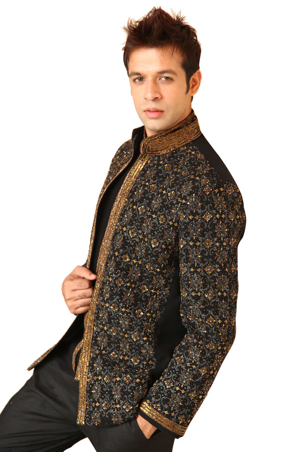 Heavy Black Traditional Indian Jodhpuri Suit Sherwani For Men