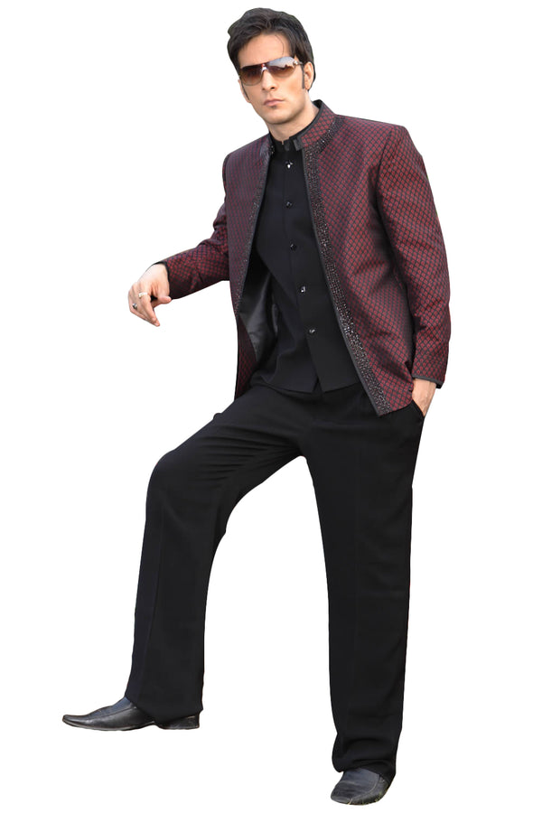 Classic Black with Maroon Traditional Indian Jodhpuri Suit Sherwani For Men