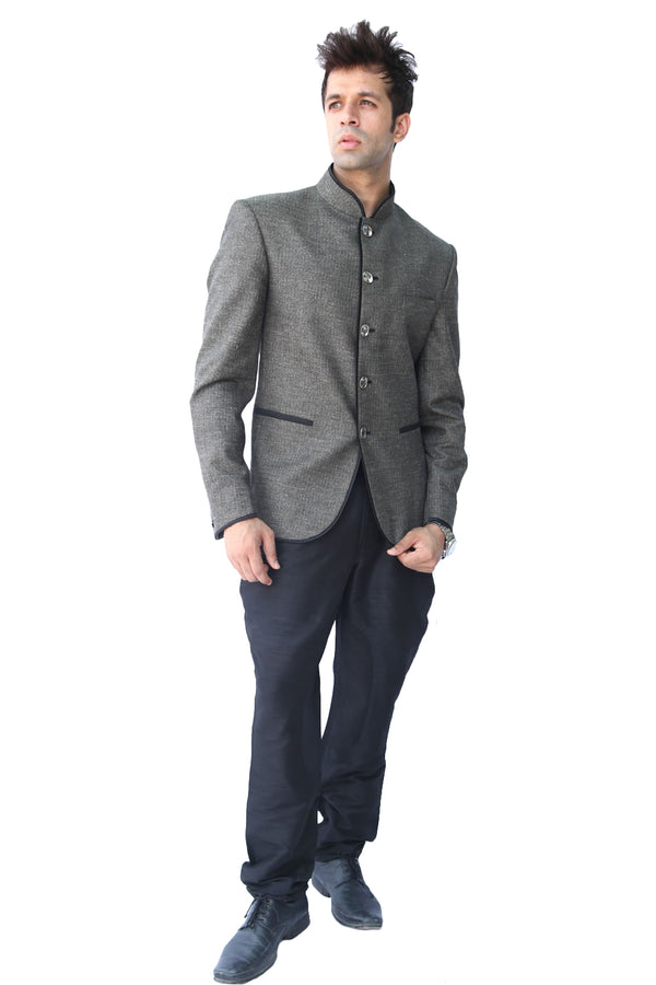 Majestic Grey Traditional Indian Jodhpuri Suit Sherwani For Men