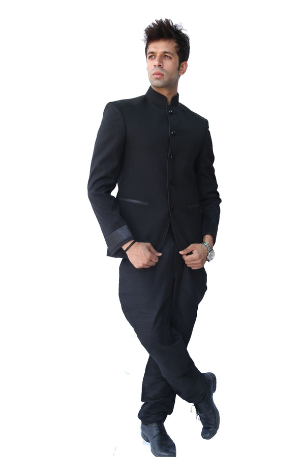 Majestic Black Traditional Indian Jodhpuri Suit Sherwani For Men