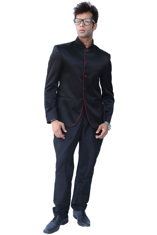 Royal Black Traditional Indian Jodhpuri Suit Sherwani For Men