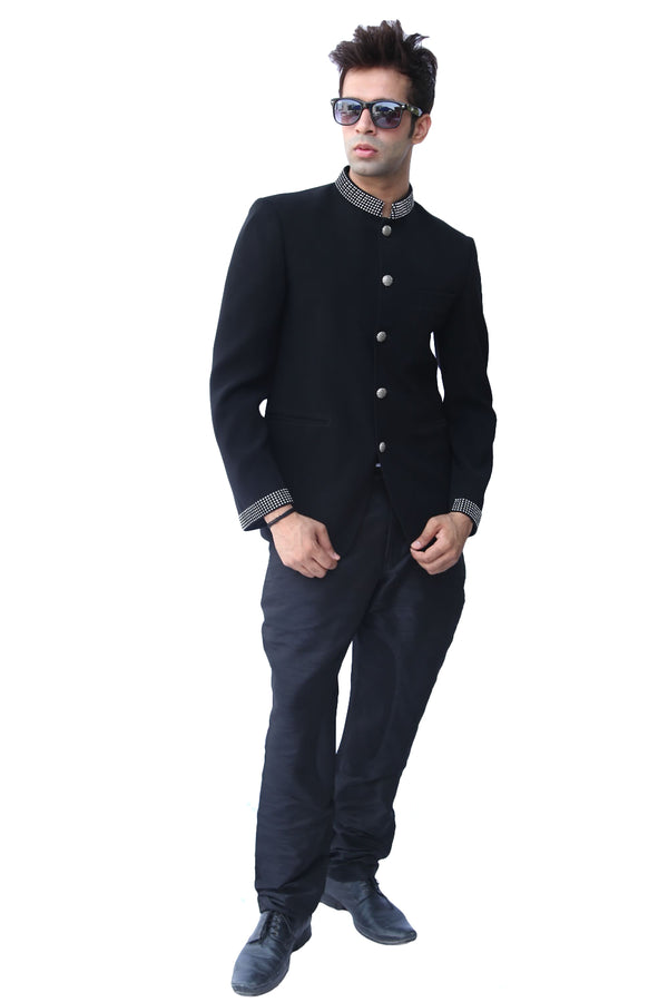 Stylish Royal Black Traditional Indian Jodhpuri Suit Sherwani For Men