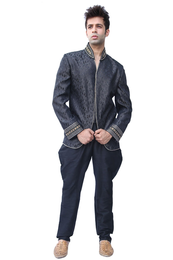 Masterpiece Royal Black Traditional Indian Jodhpuri Suit Sherwani For Men