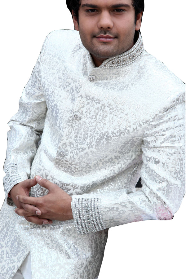 Majestic Premium White Traditional Indian Jodhpuri Suit Sherwani For Men