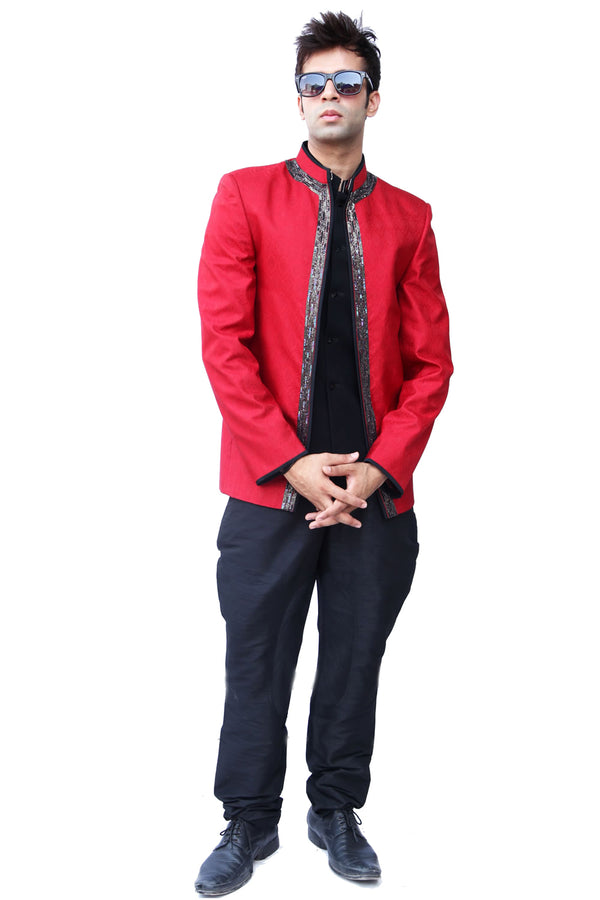 Three Piece Red Traditional Indian Jodhpuri Suit Sherwani For Men