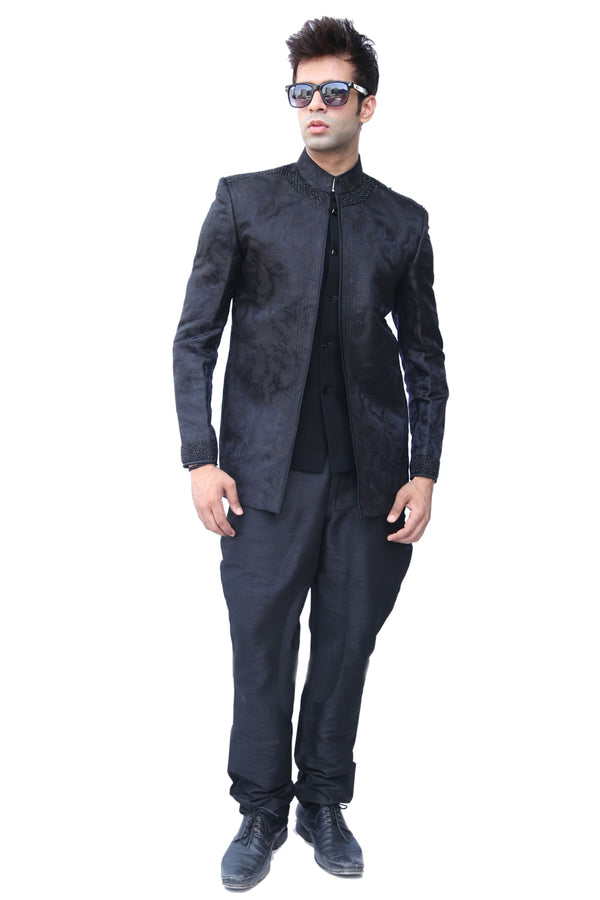 Fantastic Black Traditional Indian Jodhpuri Suit Sherwani For Men