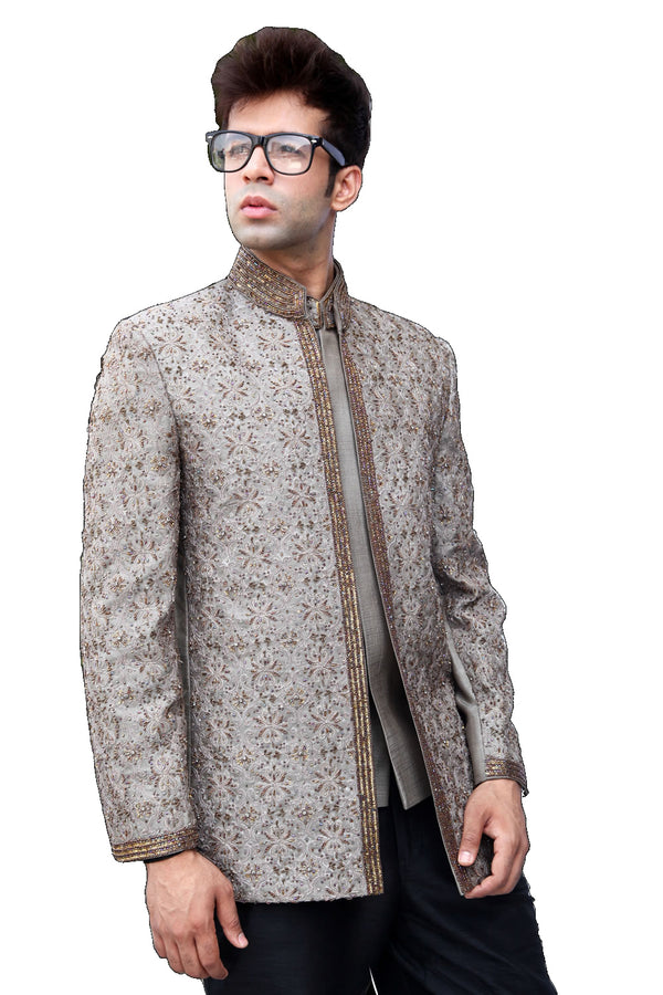 Stylish Light Green Traditional Indian Jodhpuri Suit Sherwani For Men