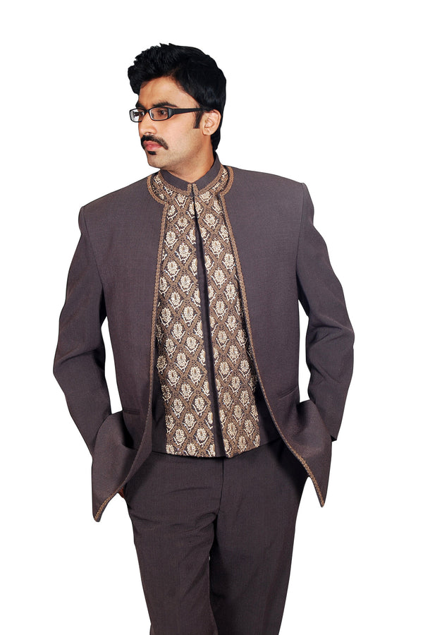Elegantly Tailored Smoke Grey Traditional Indian Jodhpuri Suit Sherwani For Men