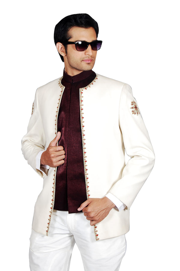 Stylish Three Piece Royal Creame Traditional Indian Jodhpuri Suit Sherwani For Men