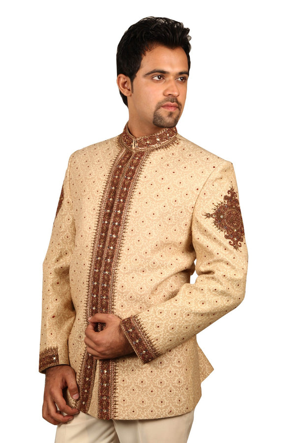 Royal Indian Wedding Copper Beige Traditional Indian Jodhpuri Suit Sherwani For Men