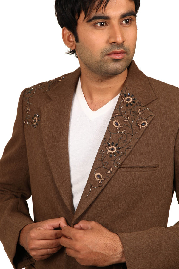 Notch Lapel Brown Traditional Indian Jodhpuri Suit Sherwani For Men