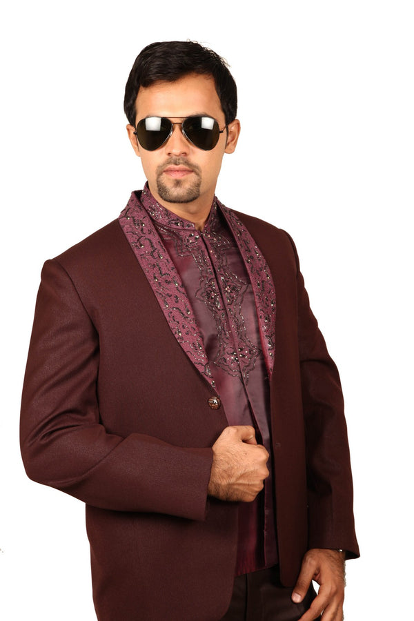 Modish 3 Piece Wine Colour Traditional Indian Jodhpuri Suit Sherwani For Men