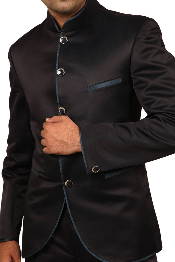 Apple Cut Navy Blue Traditional Indian Jodhpuri Suit Sherwani For Men